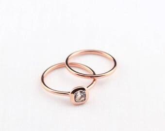 Topaz Engagement Ring Set, Rose Gold Ring Set, Rose gold wedding Ring, 14K Gold Wedding Band, 14K Gold Topaz Ring, Topaz Ring