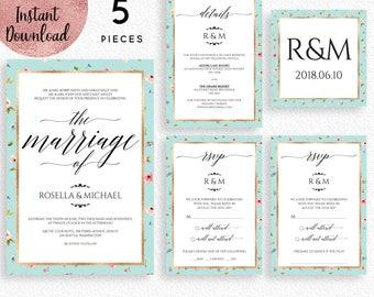 Floral Mint Gold Foil Wedding Invitation Suite Template, Printable 5x7 Wedding Invitation Kit Template, Editable PDF files, Digital Download