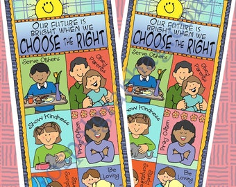 "Choose The Right - CTR Bookmark ""Our future is bright when we choose the right"" Printable - Primary, Sunday School, Family Home Evening, LDS"