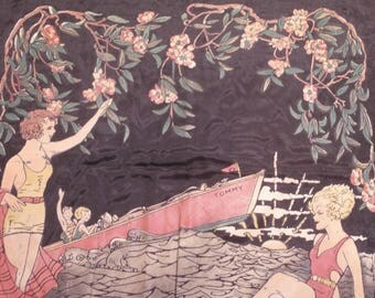 Art Deco Painting on Fabric 2 Bathing Beauties 2 Boaters On Water Framed With Flowering Vine