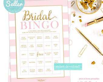 Bridal Shower Bingo - 50 BINGO BOARDS - Wedding Shower Bingo - Pre-Filled Bingo Cards - Pink and Gold - Bridal Shower Games - RS001