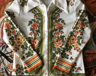 1970s double knit polyester novelty print shirt
