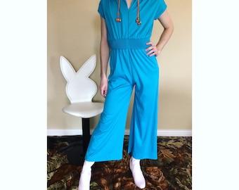 Vintage 70s sky blue wide leg jumpsuit