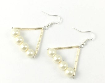 Handmade Earrings, Glass pearl, Silver Plated,Gift For Her