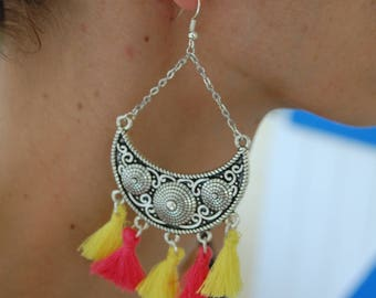 Large earrings, half moon and yellow and pink tassel / pompons