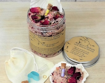 Epsom/Rose/Sandalwood/Patchouli/Frankincense/Jasmine... 100% Natural 250ml Bath Salts & Scallop Shell Scoop/Scroll Glass Bottle/Muslin Bag