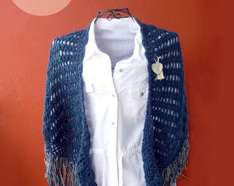 Blue shawl with silver fringes