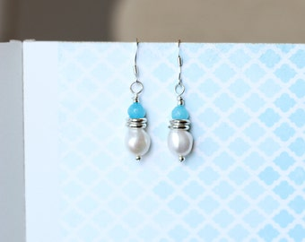 Handmade white pearl and light blue bead earrings
