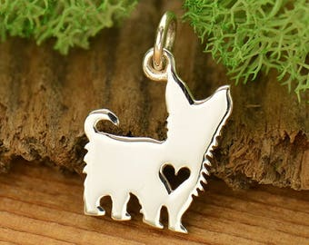 Sterling Silver Yorkshire Terrier Charm - Yorkie Charm - Make your own charm necklace