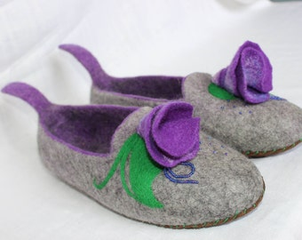 Felted Slippers, House Shoes, House Slippers, Warm Slippers, Organic shoes,  Slippers handmade, Women slippers