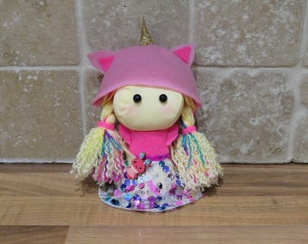 Unicorn Felt Doll, rag doll, plush doll, plushie, unicorn plush, unicorn doll, room decor, unicorn decoration, unicorn lover gift, OOAK doll