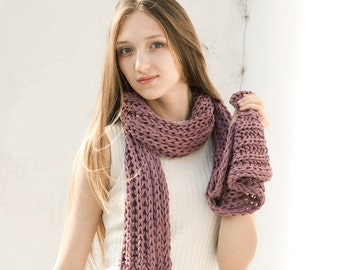 Long Dark Pink Scarf, Long Knit Scarf, Womens Hand Knit Scarf, Loose Knit Scarf, Long Wool Scarf,  Gift for Her, Gift for Friend, Dusty Pink