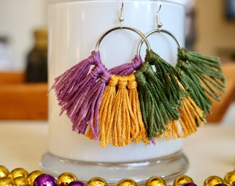 Mardi Gras Mambo Fringe Earrings; Light Purple, Gold, and Olive; Hoop Earrings
