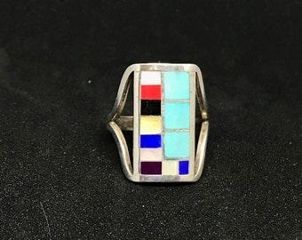 Vintage Zuni Sterling Silver Ring with Semi Precious Inlay Marked