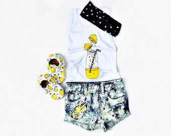GIRLS / Messy Lemon : Hip Kid Apparel Collab - Set of Handpainted distressed denim shorts and Lemon Tank - Trendy Toddler and infant
