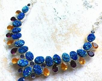 Mermaid Cosmic Blue Druzy, Amethyst Quartz, Lemon Topaz Necklace