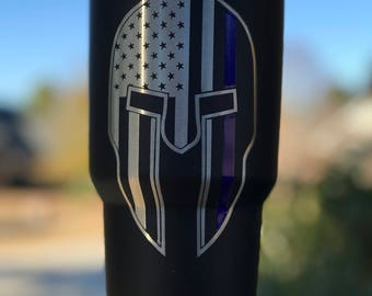 Spartan Mask Thin Blue Line Tumbler-Powder Coated Yeti/Insulated Tumbler/Powder Coat/Black Yeti/Birthday Gift/Glitter Yeti/Custom Yeti