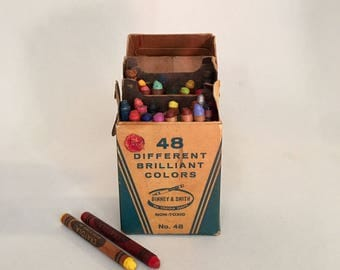 Vintage CRAYOLA, 48 different colors, Fantastic display or decor, kids room, bookcase or office!  Great Back to School gift for teacher!