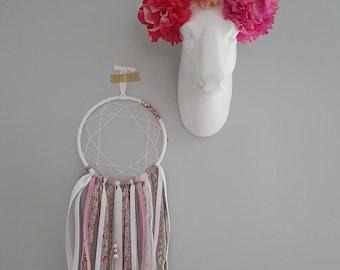 Dream catcher-Dreamcatcher - Macrame - wall decor, Bohemian, ethnic hand - Wedding - Flower lace