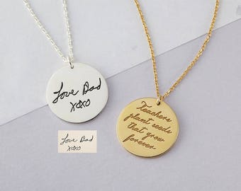 Actual Handwriting Necklace - Handwritten Jewelry - Silver Signature Disc Necklace - Memorial Handwriting Jewelry - Condolence Gift