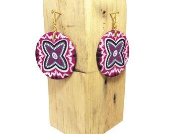 Fabric Wax 7 round earring