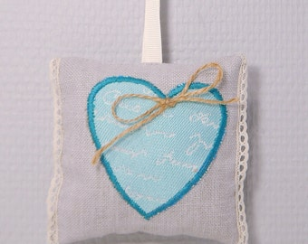 scented sachet filled with lavender with turquoise heart and lace to hang