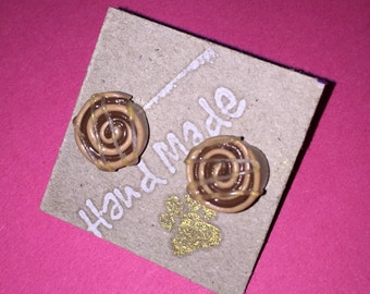 Cinnamon Swirl Stud Earrings