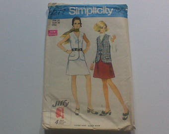 Simplicity 8277, 1960s Vintage Sewing Pattern, Womens Vest and Skirt, Size 14, Bust 36