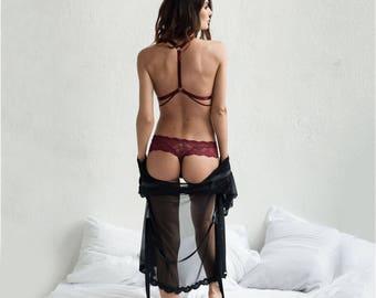 Red wine lace lingerie bralette SENSE