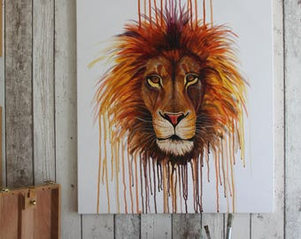 Rainbow Lion- Original one of a kind hand painted on canvas
