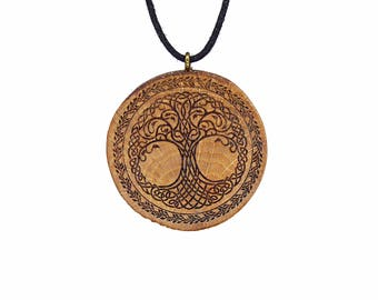"Soul slices ""Tree of Life 3"" wood necklace vintage * Ethno * hippie * MUST have * statement * Celtic"