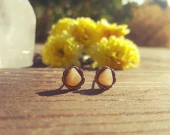 HONEY - Golden Quartz Gemstone Earrings, Stainless Steel, Golden Crystal Studs, Raw Golden Quartz, Sacral Chakra, Mother's Day Gift Idea