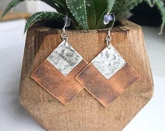 Abstract Boho Earrings, Burnt Angle Earrings, Mixed Metal Earrings, Geometric Earrings, Sterling Silver Earrings, Square Earrings