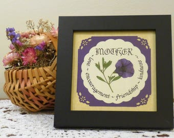 Framed Calligraphy for Mother with Real Pressed Mini Purple Petunia