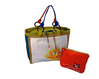 lotus flower tote bag, summer accessory bag