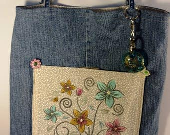 Embroidered Flowers Tote Bag Purse with Ladybug and Bee Buttons
