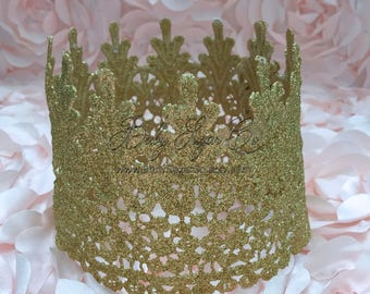 Gold Glitter Lace Birthday Crown