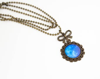 Galaxy glass cabochon bronze necklace