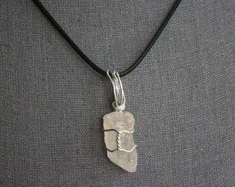 Handwrapped Polished Quartz Pendant with Leather Chain