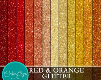 Red and Orange Glitter Digital Papers, Scrapbook Papers Sparkles Clipart , digital background - Instant Download