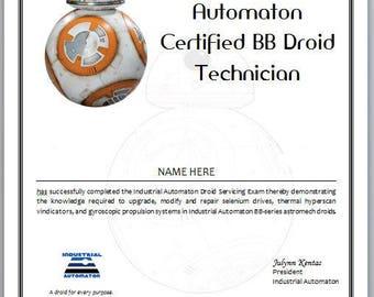 Star Wars Certificate - BB8 Certified Droid Technician
