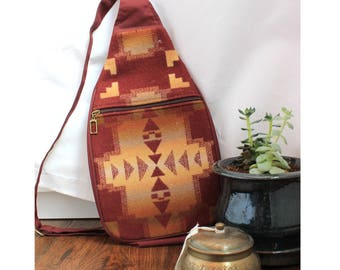 Vintage Southwestern Pendleton Bag Festival Wool Crossbody One Shoulder Backpack Boho Navajo Tribal Print