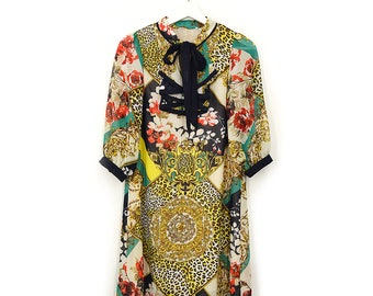 Chiffon Vintage Dress with Frills in Gucci Style