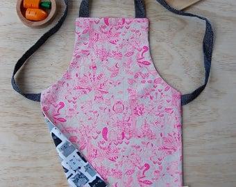 Toddler apron, reversible apron, kids apron, woodland design, fox apron, bear apron, pink apron, cat apron