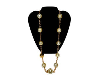 Vintage CADORO Large Faux Pearl Bead Costume Jewelry Necklace