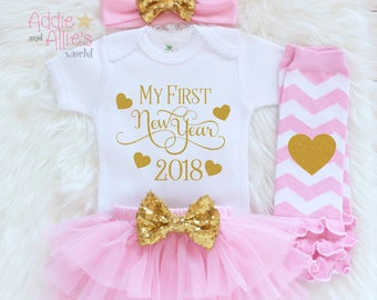 My First New Years 2018 Outfit, Girls New Year Outfit, 1st New Years Outfit, First New Years Shirt, Baby Girl New Years, Custom Shirt, N3P