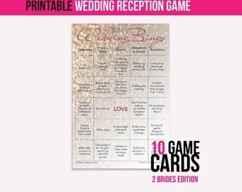 Wedding Bingo Instant Download (2 Brides): The Wedding Reception Game (10 cards)