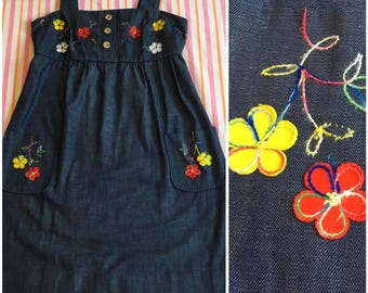 Vintage Denim Emroidered Red Yellow White Flower Rainbow Stitching Jumper Marian Sue Dress With Pockets Wood Buttons Hippie 1970s