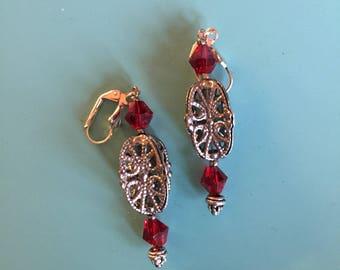 Art Deco Earrings / Silver Earrings / Vintage (1920's) Pewter Bead / Drop Earrings / Statement Earrings / Red Earrings / Gift Wrapped