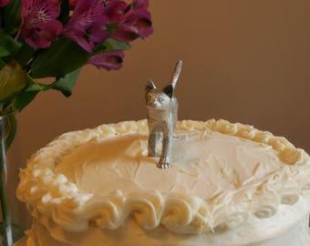 Cat Cake Topper - Silver